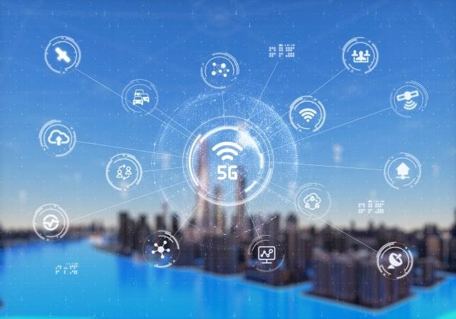 5Gがあらゆる機器に接続しているイメージ